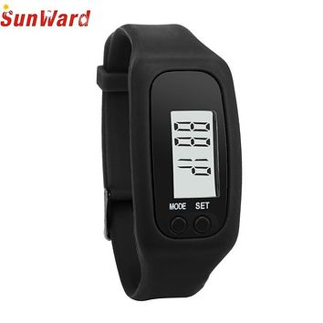 SUNWARD Stylish watches Digital Sports Watch LCD Durable Silicone Pedometer Run Step Walking Distance Calorie Counter Bracelet