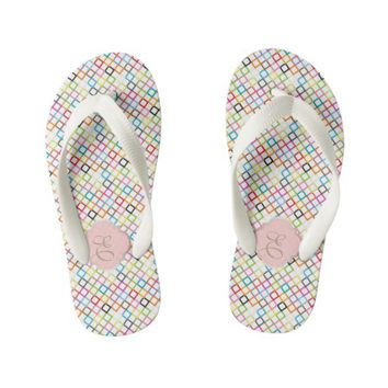 Colorful Squares Pattern Children Room Monogram Kid's Flip Flops