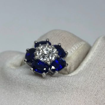 Vintage Handmade deep blue sapphire and white sapphire setting 925 Sterling Silver gothic Ring