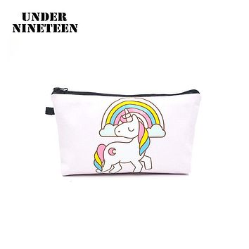 Under Nineteen 2017 cartoon Kawaii Cosmetic Bags Unicorn Make Up Bag Neceser Travel Toiletry Organizer Bag Women' Storage Pouch