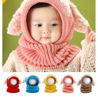 New Winter Baby Toddler Girl Boy Warm Cute Dog Knitted Crochet Cloak hooded Hat Cap Beanie Scarf Set = 1946179908