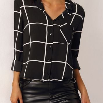 V-neck Plaid Button Long Sleeves Blouse
