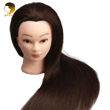 24 Inches 600G Practice Head Training Mannequin For Hairdresser Dummy For Hairstyles Doll Mannequin Head With Brown Hair