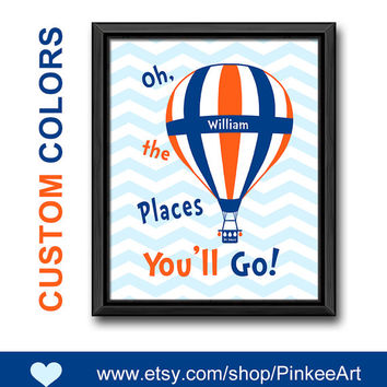 dr seuss nursery oh the place you'll go custom nursery art dr seuss quote baby nursery decor gift for new parents toddlers print boy room