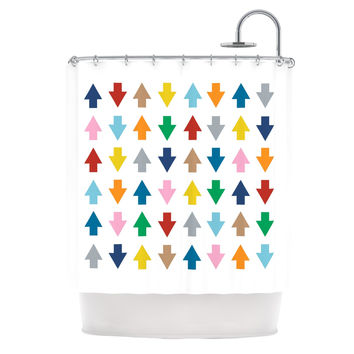 "Project M ""Arrows Up and Down White"" Shower Curtain"