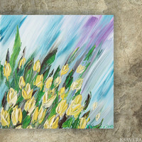 Yellow tulips Painting floral wall art FREE SHIPPING palette knife impasto KSAVERA Modern blue green paintings on canvas acrylic spring