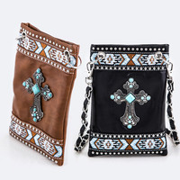 Western Fashion Handbag PU Leather Metal Turquoise Cross Body Swing Bag Clutches