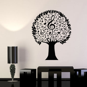 Vinyl Wall Decal Musical Tree Notes Music Lover Nature Stickers Unique Gift (961ig)