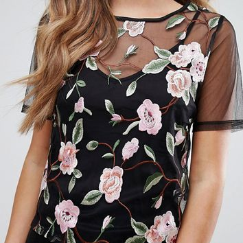 New Look Floral Embroidered Mesh T-Shirt at asos.com