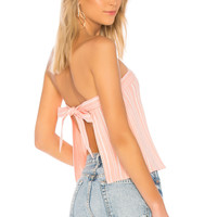 About Us Hannah Tie Back Crop Top in Pink Stripe