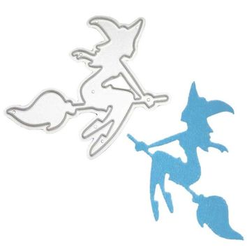 Witch Broom Stencils Metal Cutting Dies For Scrapbooking Halloween DIY Decorative Template Cut Dies Frame Paper Embossing Folder