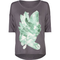 Lira Crystals Womens Tee Charcoal  In Sizes