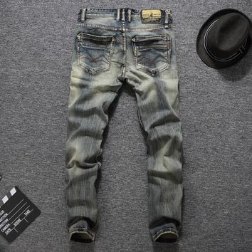 Men Fashion Simple Design Slim Pants Jeans [748306595933]