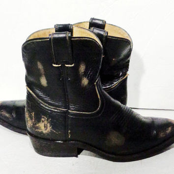 Frye 77973 Billy Short Black Leather Western Cowgirl Boots Women's Size 9