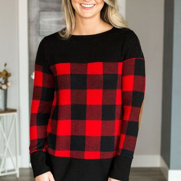 Plaid Suede Elbow Patch Top