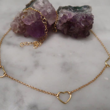 Heart necklace, gold choker, heart charm, gold filled chain, valentines day, gifts for her, dainty necklace, gold necklace, dainty choker