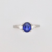 Oval Sapphire & Diamond 3 Stone Engagement Ring