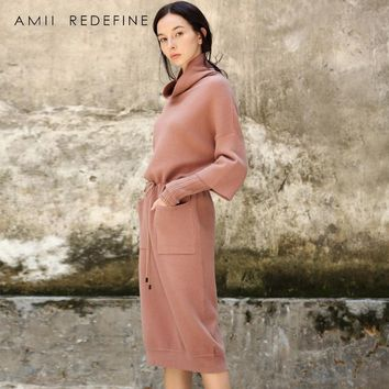 Amii Redefine Dress Women Winter 2018 Vintage Solid Sashes Puff Sleeve Empire Lace Up Bow Pockets Elegant Knitted Sweater Dress