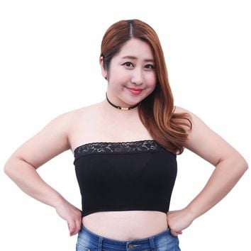 Sexy Plus Size XL-3XL Tube Top Women Black White Lace Crop Top Underwear Bandeau Womens Fat Lingerie Corset Tube Top Bra Female