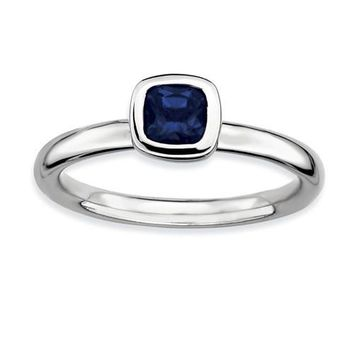 Sterling Silver Stackable Expressions Cushion Cut Cr. Blue Sapphire Ring