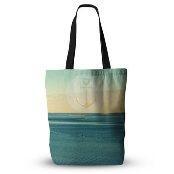 "Robin Dickinson ""Row Your Own Boat"" Teal Ocean Everything Tote Bag"