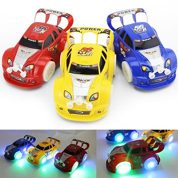 Kid Toy Christmas Automatic Steering Flashing Music Racing Car Electric Toy Car Random Color