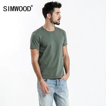 SIMWOOD 2018 Summer New Raw Crew Neckline T Shirt Men Slim Fit Vintage Washed Look 100% Cotton Tshirt Plus Size Tee Tops 180136