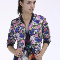 Floral Print Long Cuff Sleeve Jacket