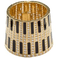 Egyptian Revival Gold Onyx Wide Bangle Cuff
