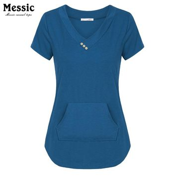 Messic Cross V-neck Casual Women T-Shirts Summer Short Sleeve Solid Tee With Buttons Kangaroo pocket Knitted Plus Size T Shirt