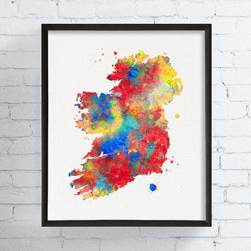 Ireland Map, Ireland Print, Ireland Poster, Ireland Art, Map Of Ireland, Watercolor Map, Country Map, Map Poster, Ireland Painting, Framed