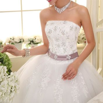 Free Shipping Flower Strapless Wedding Dresses Real Photo Purple Waist New White Bridal Gowns Frocks Vestidos De Novia MY278