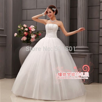 vintage wedding dress new 2015 ball gown wedding dresses fashionable bandage with crystal decorated bridal gowns plus size