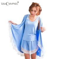 Lisacmvpnel Autumn New lace 3 pcs lace robe+nightgown+pant cotton women pajamas sexy robe sets women cardigans