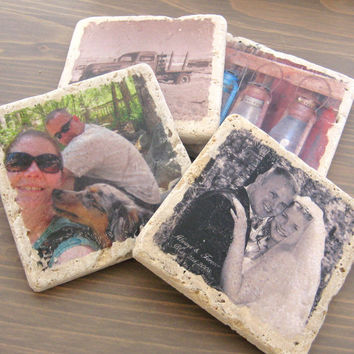 Personalized Photo Coasters -  Custom Handmade - Photo Stone Tile Coasters - Set of Four