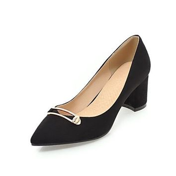 Metal Decoration Chunky High Heel Pointed Toe  Pumps Shoes Woman