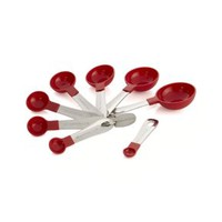 Stainless Steel and Red Nylon Measuring Spoons (Set of 8)