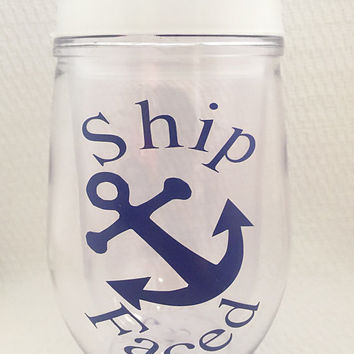 Travel Wine Glass - Ship Faced Wine Glass - Navy Blue - Nautical - Anchor - Wine Quotes - Wine Lover Gift - Funny Wine Glasses - Bev2Go