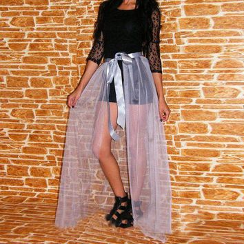 Light Gray Silver Tulle Train Sheer 1 Layer Tulle Tail Custom Made Overskirt Personalized Long Overlay Skirt Plus Size