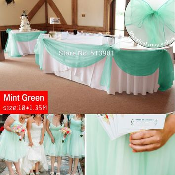 Promotion  mint green 10M*1.35M Sheer Organza Swag Fabric home wedding decoration Organza Fabric table curtain, HQ free shipping