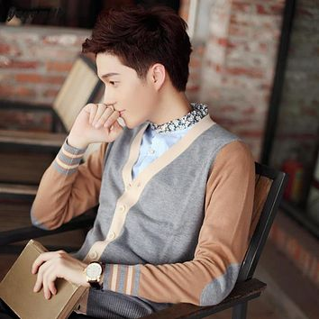 YAUAMDB men sweater 2017 spring autumn size S-3XL knitted male V Collar color matching Cardigan thin Long Sleeve knitwear y65