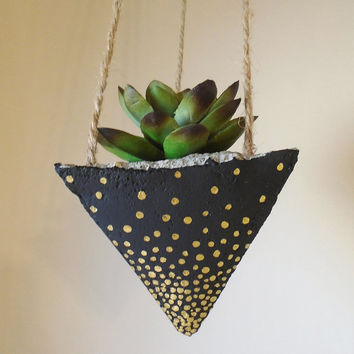 Hanging Concrete Succulent Pyramid Planter, Hand-Painted Black with Metallic Gold Dots, Jute Twine