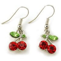 Green Leaf Red Fruit Cherry Dangle Earrings Red Green Rhinestones Fashion Jewelry