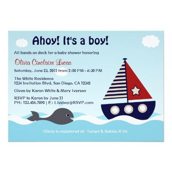 "Nautical Sailboat Baby Boy Baby Shower Invitation 5"" X 7"" Invitation Card"