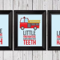 firetruck prints, Little firefighters take a bath, Kids Decor, Word Art, Kids Wall Art, Baby Decor, Nursery prints, firetruck decor