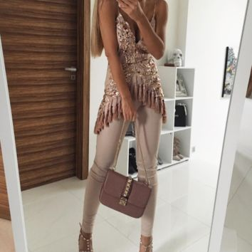 Tassel Baby Gold Sequin Jumpsuit