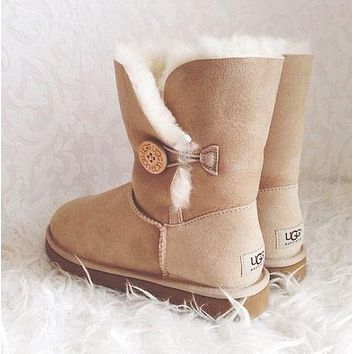 """UGG"" Women Fashion Snow Boots Calfskin Shoes"