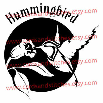 Hummingbird with Flower Digital Cutting File (SVG, DXF, JPG)