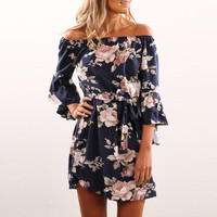 Sexy Backless Printed Dress