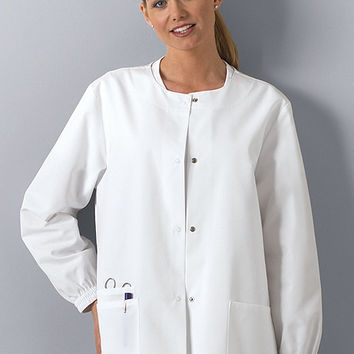 Cherokee Workwear Snap Front Warm Up Jacket - White - 4350